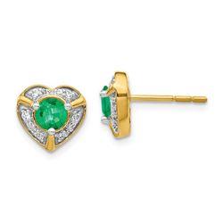 14k Yellow Gold .136ct Diamond & Emerald Heart Earrings - 9 mm