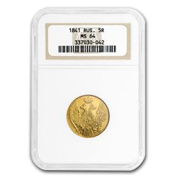 1841 Russia Gold 5 Roubles Nicholas I MS-64 NGC