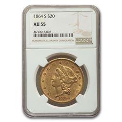 1864-S $20 Liberty Gold Double Eagle AU-55 NGC