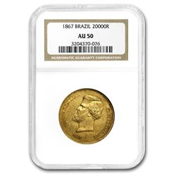 1867 Brazil Gold 20\,000 Reis Pedro II AU-50 NGC