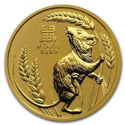 2020 Australia 1/2 oz Gold Lunar Mouse BU (Series III)