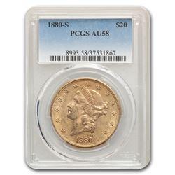 1880-S $20 Liberty Gold Double Eagle AU-58 PCGS
