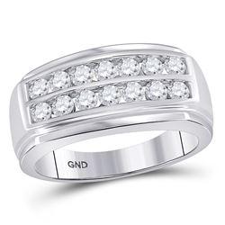 14kt White Gold Round Diamond Journey Wrap Ring Guard Enhancer 1/3 Cttw