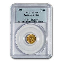 1922 Gold $1.00 Grant MS-65 PCGS (No Star)
