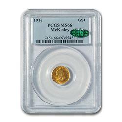 1916 Gold $1.00 McKinley Commem MS-66 PCGS CAC