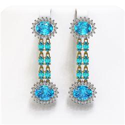 10.15 ctw Sapphire & Diamond Earrings 14K Rose Gold