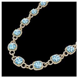 66 ctw Green Tourmaline & VS/SI Diamond Necklace 14K White Gold