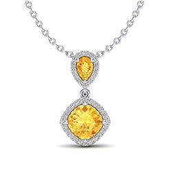 0.78 ctw Intense Blue Diamond Necklace 10K White Gold
