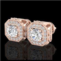5 ctw Intense Yellow Diamond Stud Earrings 10K Rose Gold