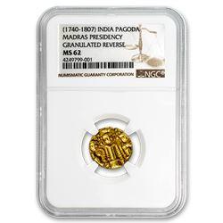 (1740-1807) East India Company Gold Pagoda Madras Pres. MS-62 NGC