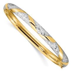 14k W/White Rhodium Diamond Cut Criss-Cross Bangle