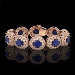 76.69 ctw Amethyst & Diamond Halo Necklace 10K Rose Gold