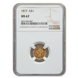 1877 $1 Indian Head Gold MS-67 NGC