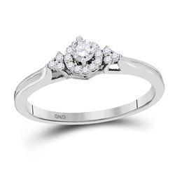 10kt White Gold Round Diamond Infinity Pendant Necklace 1/6 Cttw
