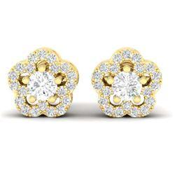 0.75 ctw VS/SI Diamond Earrings Halo 18K Yellow Gold