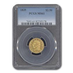 1835 $2.50 Classic Head Eagle MS-61 PCGS