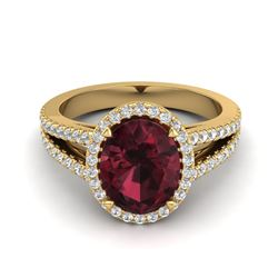 3 ctw Ruby & VS/SI Diamond Halo Ring 18K Yellow Gold