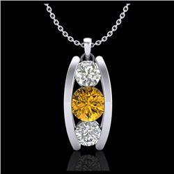 1.75 ctw Citrine & VS/SI Diamond Earrings 18K White Gold