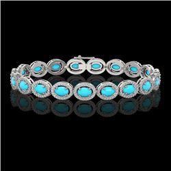 2.35 ctw Fancy Intense Blue Diamond Art Deco Earrings 18K White Gold