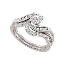 14kt White Gold Princess Diamond Solitaire Halo Bridal Wedding Engagement Ring 3/8 Cttw