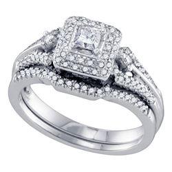 14kt White Gold Round Diamond Double Halo Rose-tone Bridal Wedding Engagement Ring Band Set 1-1/2 Ct