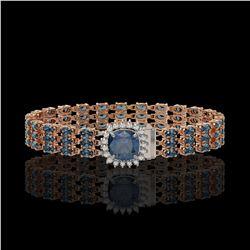 28.52 ctw Garnet & Diamond Bracelet 14K White Gold