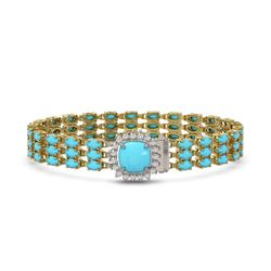 17.97 ctw Sapphire & VS/SI Diamond Tennis Earrings 10K Yellow Gold