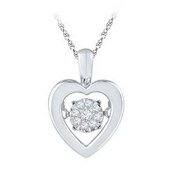 10kt White Gold Round Black Color Enhanced Diamond Owl Bird Pendant Necklace 3/8 Cttw