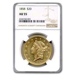 1858 $20 Liberty Gold Double Eagle AU-55 NGC