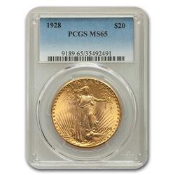1928 $20 Saint-Gaudens Gold Double Eagle MS-65 PCGS