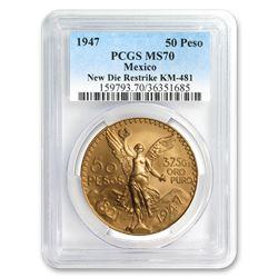1947 Mexico Gold 50 Pesos MS-70 PCGS (Restrike)