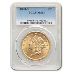 1870-S $20 Liberty Gold Double Eagle MS-61 PCGS