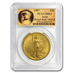 1907 $20 Saint-Gaudens Gold No Motto MS-62 PCGS (Rough Rider)