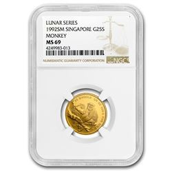 1992 Singapore 1/4 oz Gold 25 Singold Monkey MS-69 NGC