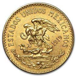 1919 Mexico Gold 20 Pesos AU