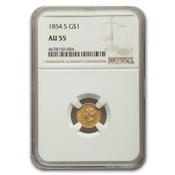 1854-S $1 Indian Head Gold AU-55 NGC