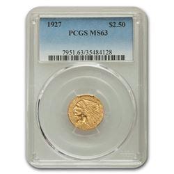 1927 $2.50 Indian Gold Quarter Eagle MS-63 PCGS