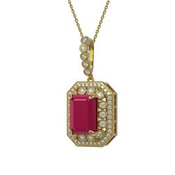 2.0 ctw Red Sapphire Necklace 10K Yellow Gold