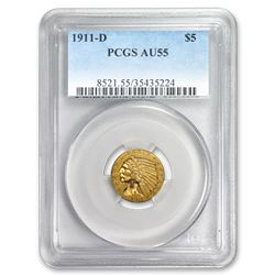 1911-D $5 Indian Gold Half Eagle AU-55 PCGS
