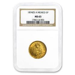 1874 Zs-A Mexico Gold 5 Pesos MS-63 NGC