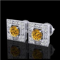 2.15 ctw SI/I Fancy Intense Yellow Diamond Ring 10K White Gold