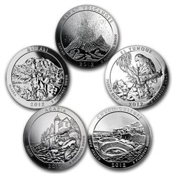 2012 5-Coin 5 oz Silver ATB Set (America the Beautiful)