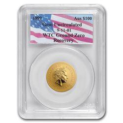 1999 Australia 1 oz Gold Nugget Gem Unc PCGS (WTC Ground Zero)