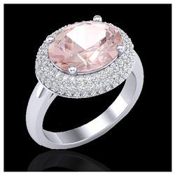 12 ctw Sky Blue Topaz & VS/SI Diamond Ring 14K Rose Gold