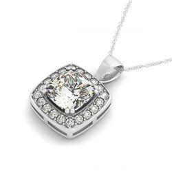 34.11 ctw Sapphire & Diamond Halo Necklace 10K Rose Gold