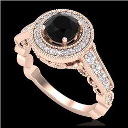 1.51 ctw Fancy Black Diamond Art Deco Stud Earrings 18K Yellow Gold