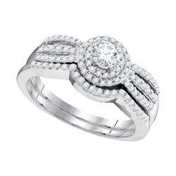 14k White Gold Round Diamond Halo Bridal Wedding Engagement Ring Band Set 1-1/2 Cttw