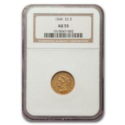 1846 $2.50 Liberty Gold Quarter Eagle AU-55 NGC