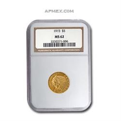 1915 $5 Indian Gold Half Eagle MS-62 NGC