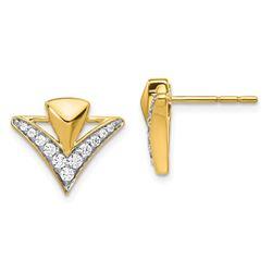 14k Yellow Gold .322 ctDiamond Fancy Post Earrings - 12 mm
